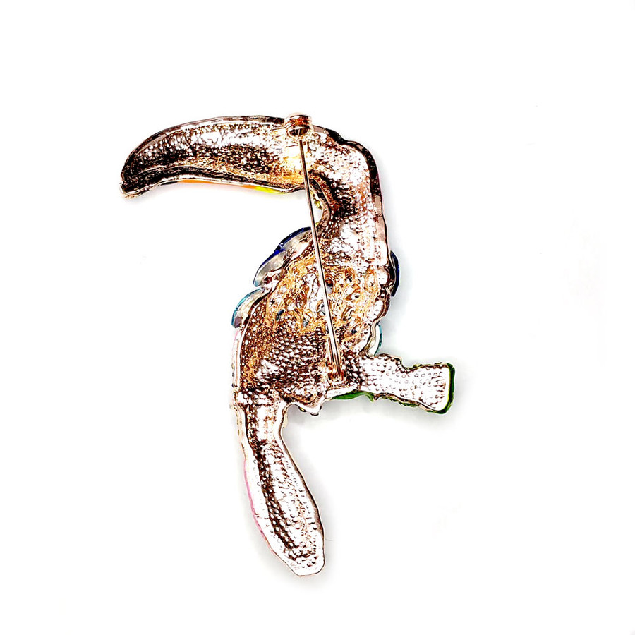 Large Bejeweled and Enameled Toucan Bird Pin