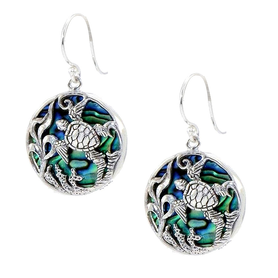 Antiqued Silver Honu/Sea Turtle Circle Drop Earrings with Abalone