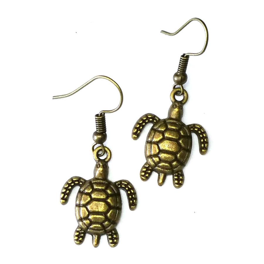 Antiqued Golden Sea Turtle/Honu Drop Earrings