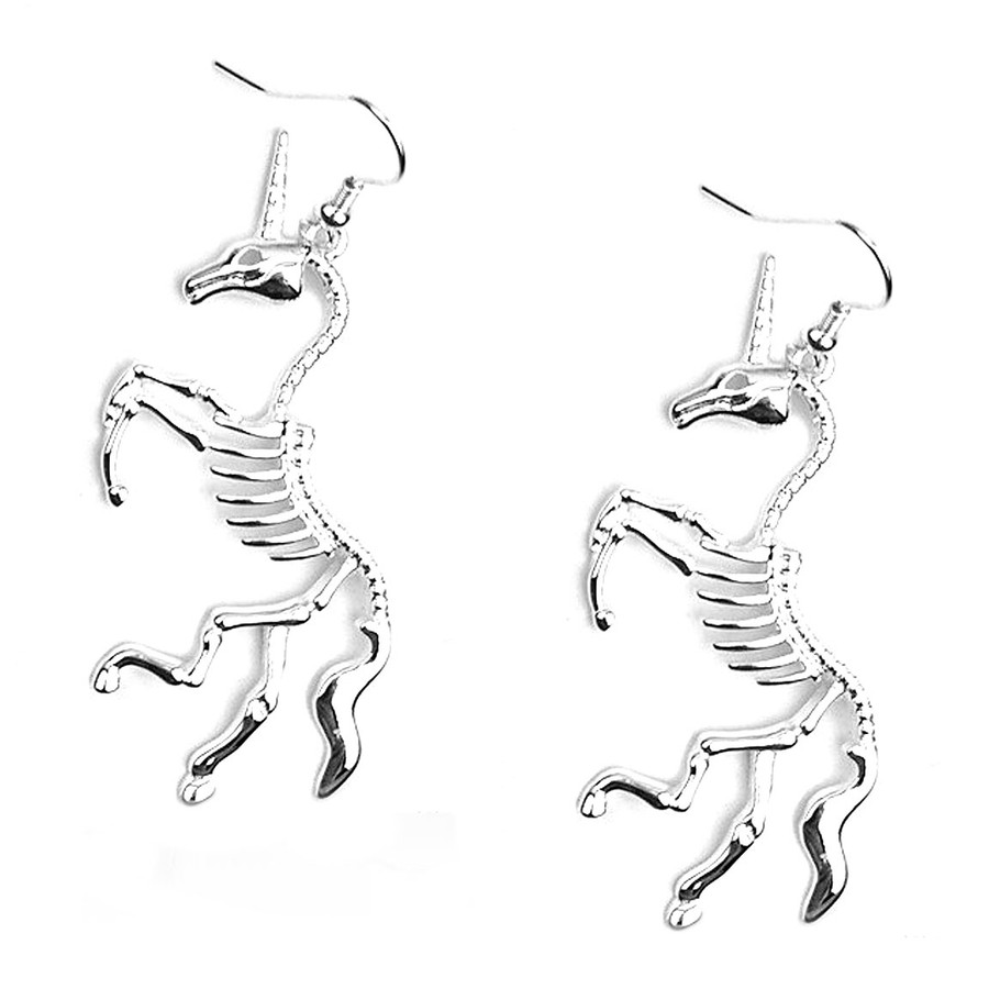 Silver Unicorn Skeleton Drop Earrings