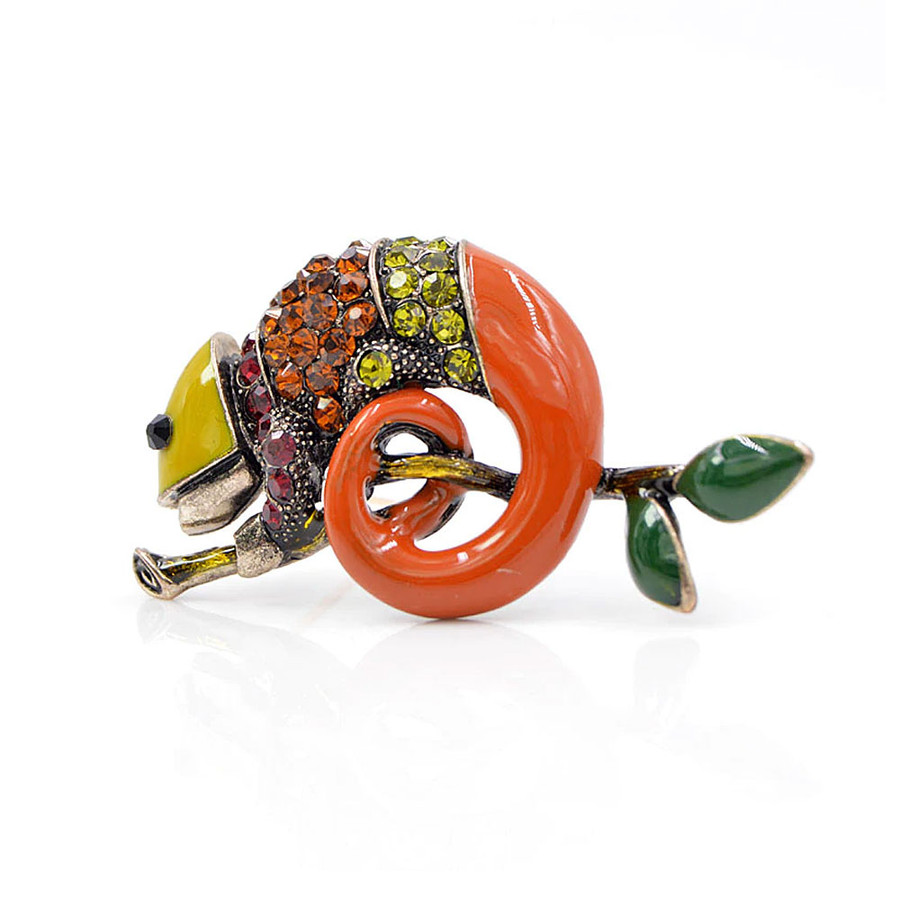 Enameled and Bejeweled Chameleon Pin