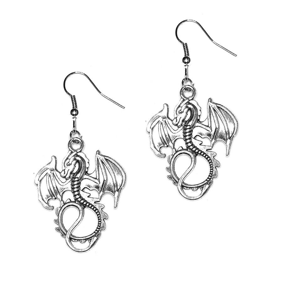Silver Dragon Drop Earrings