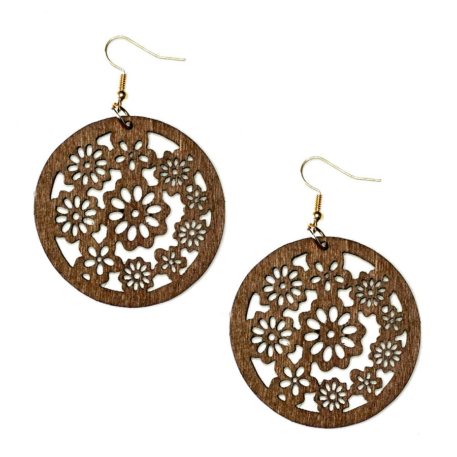 Lightweight Brown Wood Daisy/Flower of Life Circle Drop Earrings