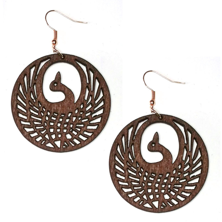 Lightweight Brown Wood Phoenix Circle Drop Earrings