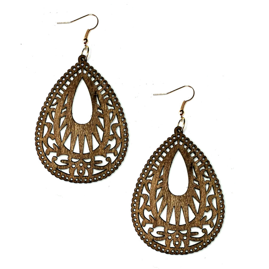 Lightweight Brown Wood Cut-out Teardrop Drop Earrings