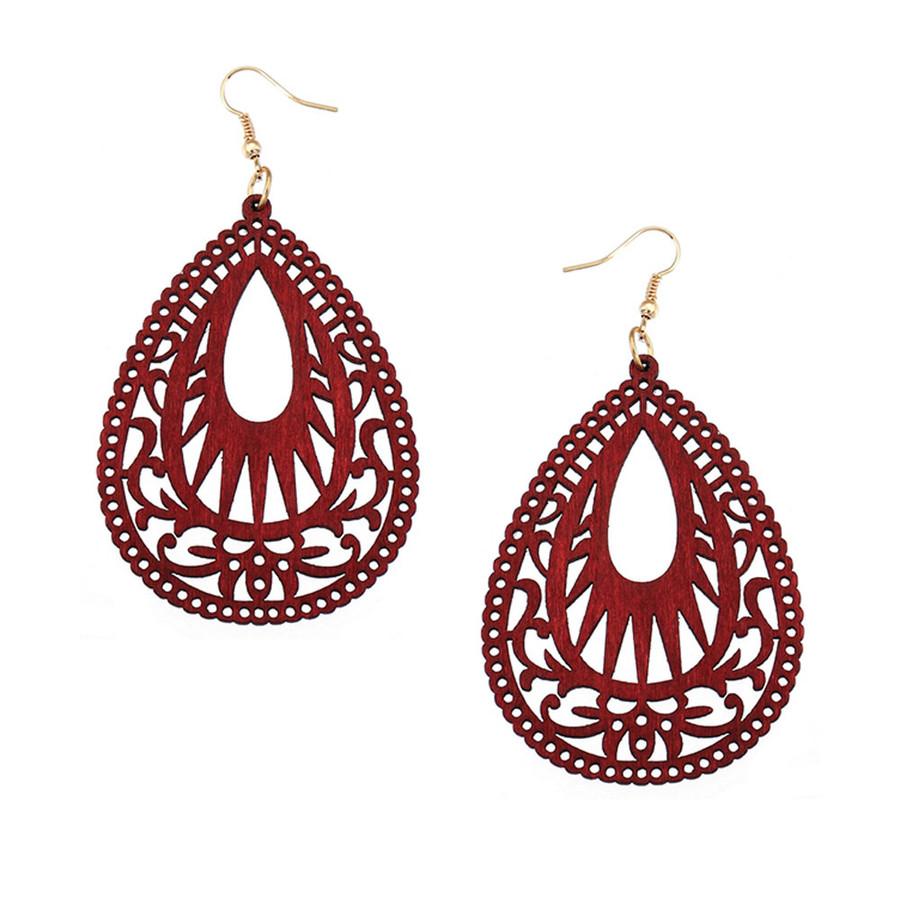 Lightweight Red Wood Cut-out Teardrop Drop Earrings