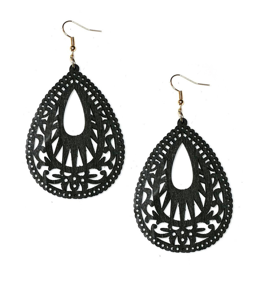 Lightweight Black Wood Cut-out Teardrop Drop Earrings