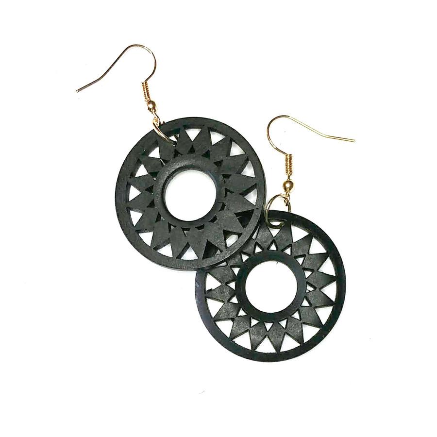 Lightweight Black Wood Sun Drop Earrings