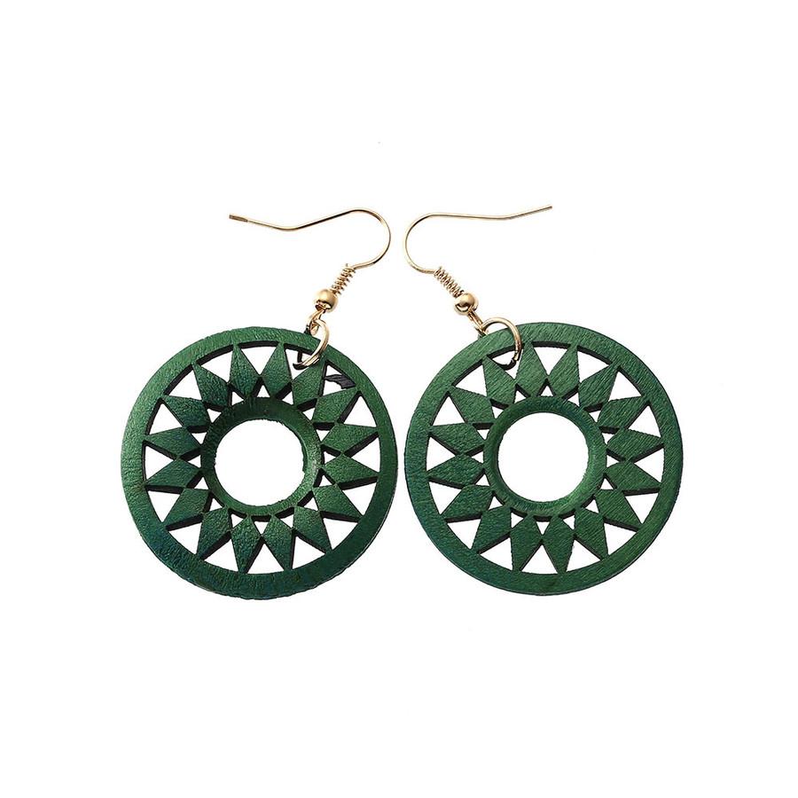 Lightweight Green Wood Sun Drop Earrings