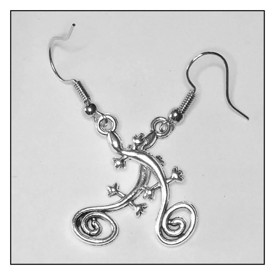 Antiqued Silver Gecko Drop Earrings