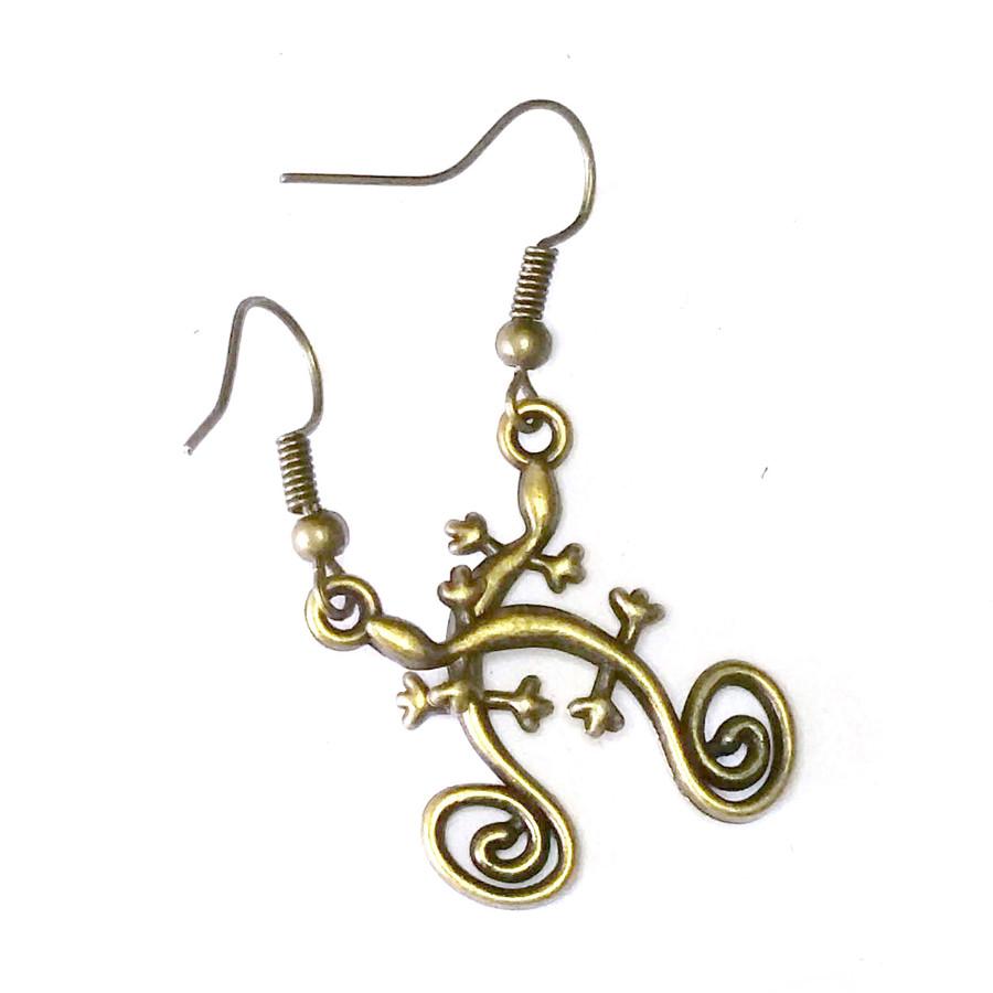 Antiqued Golden Gecko Drop Earrings