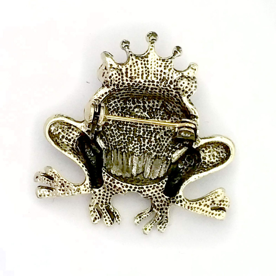Bejeweled and Enameled Antiqued Gold Frog Prince Pin
