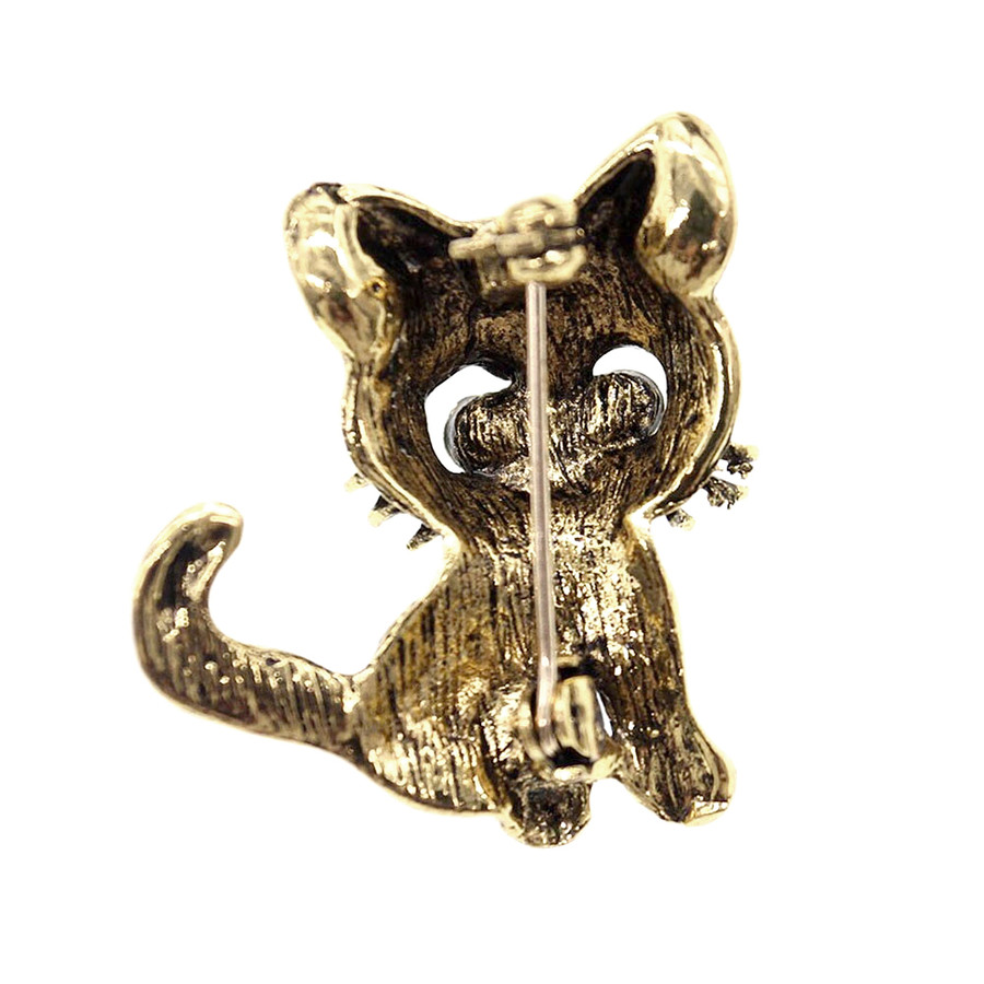 Bejeweled Antiqued Gold Kitty Pin