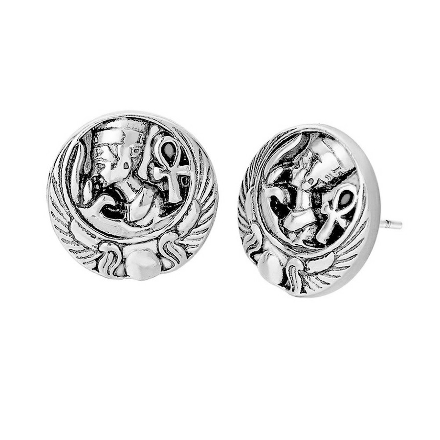 Antiqued Silver Nefertiti Egyptian Post Earrings