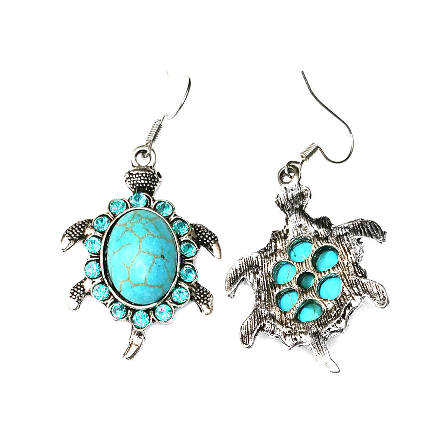 Bejeweled Turquoise and Silver Sea Turtle/Honu Necklace and Drop Earring Set