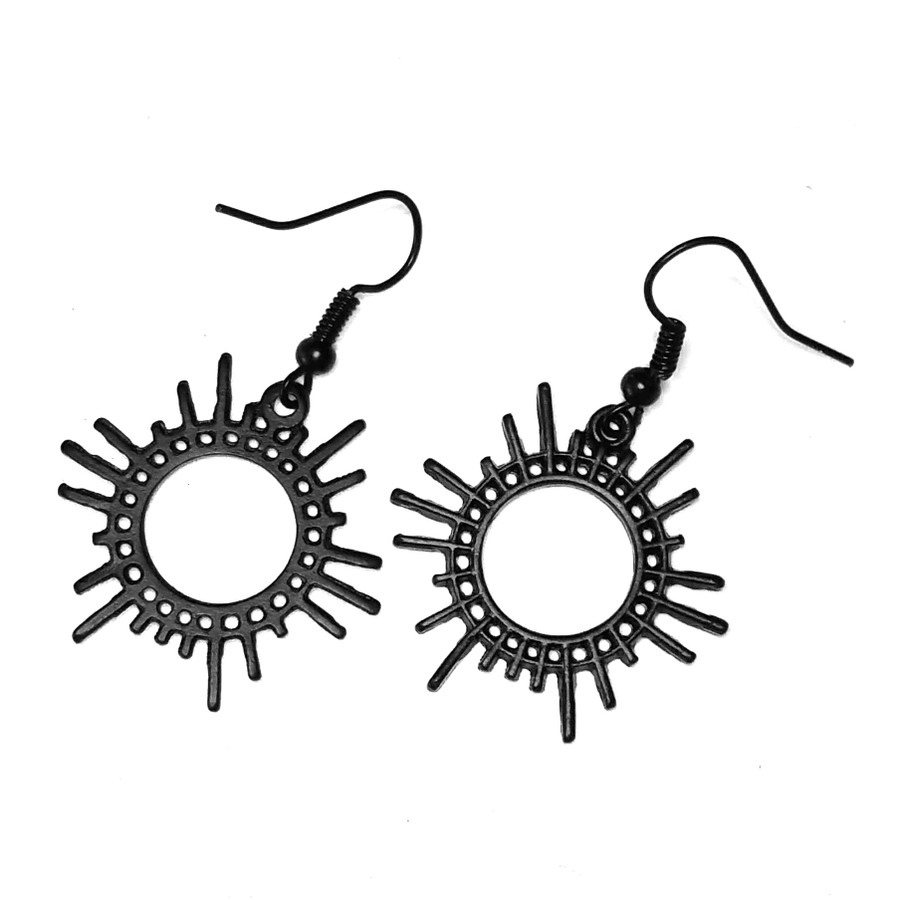 Lightweight Matte Black Sun Outline Drop Earrings