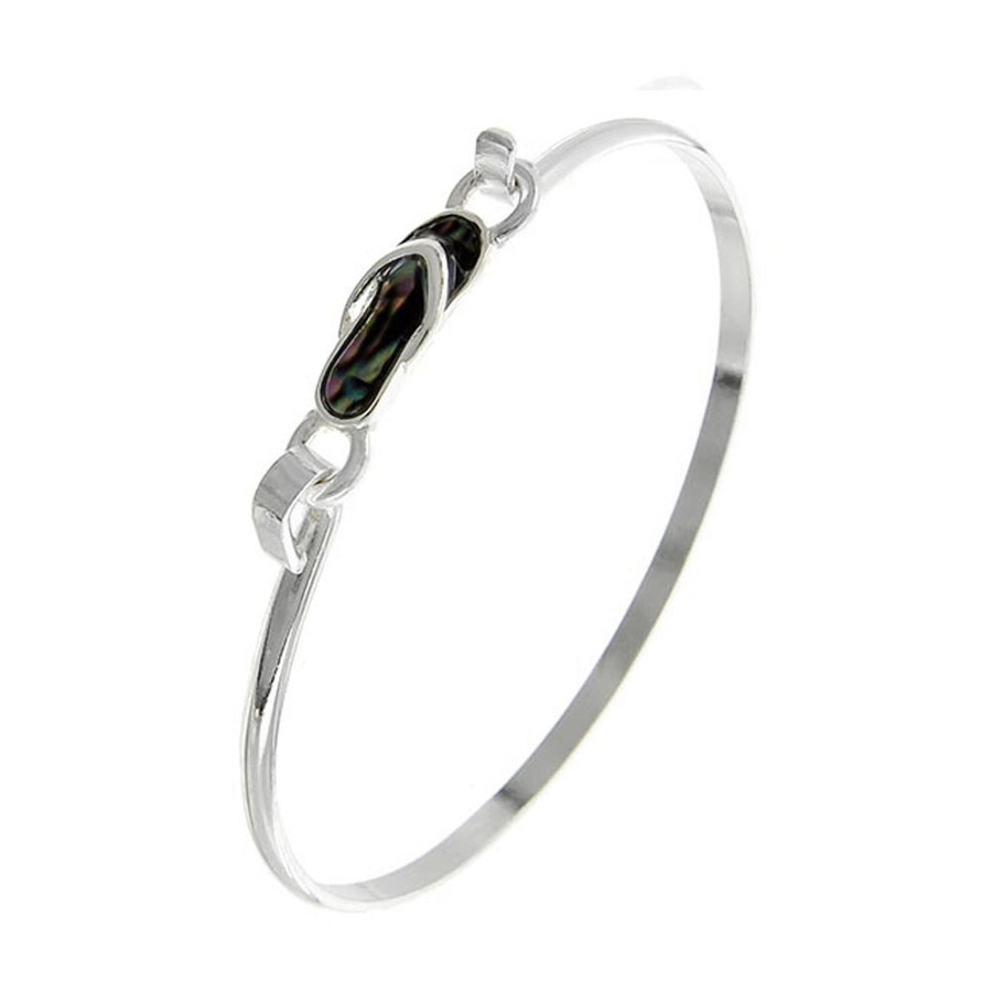 Silver and Abalone Mini Flip-Flop Bangle