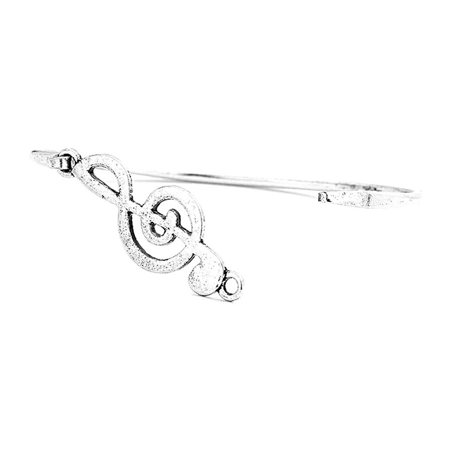 Antiqued Silver Treble Clef Bangle