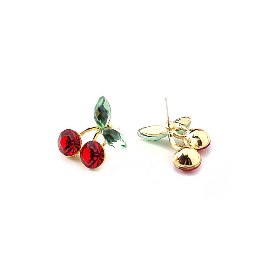 Golden Bejeweled Cherry Post Earrings