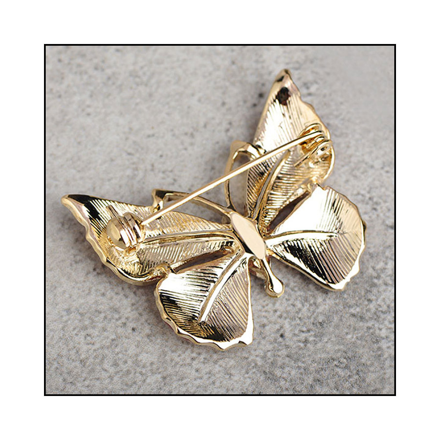 Bejeweled Golden Butterfly Pin with Enamel and Abalone Wings