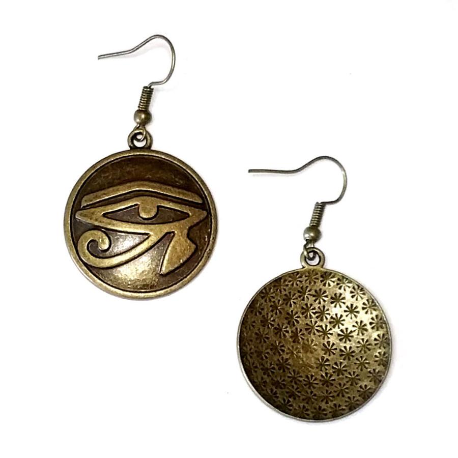 Antiqued Gold Eye Of Horus Egyptian Circle Drop Earrings
