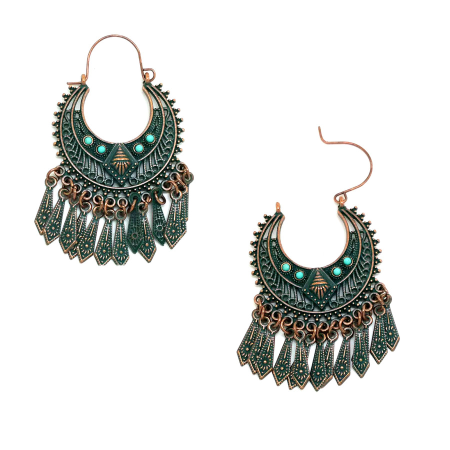 Patina Pin-Catch Drop Chandelier Earrings with Turquoise Stones