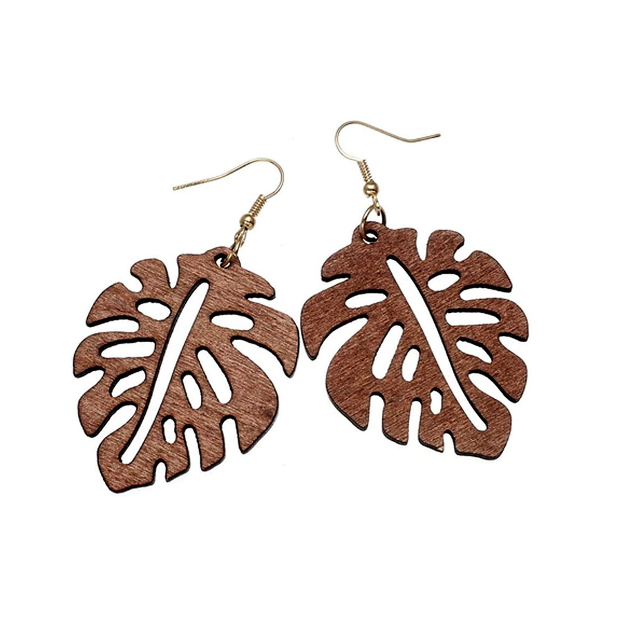 Lightweight Brown Wood Philodendron Leaf Drop Earrings