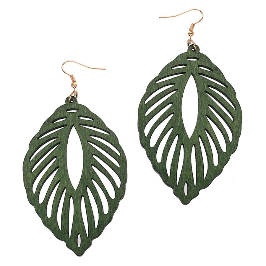 Large Lightweight Green Wood Leaf Drop Earrings
