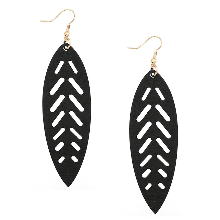 Long Lightweight Black Wood Surfboard Drop Earrings