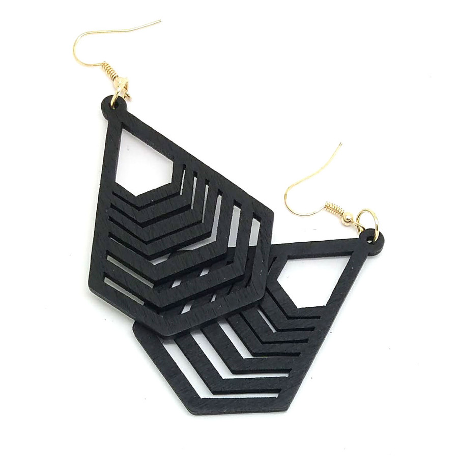 Lightweight Black Wood Geometric Deco Drop Earrings