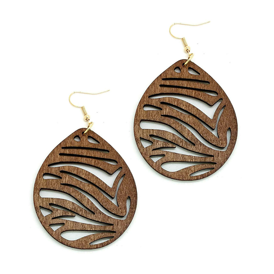Large Lightweight Brown Wood Zebra/Tiger Stripe Teardrop Drop Earrings