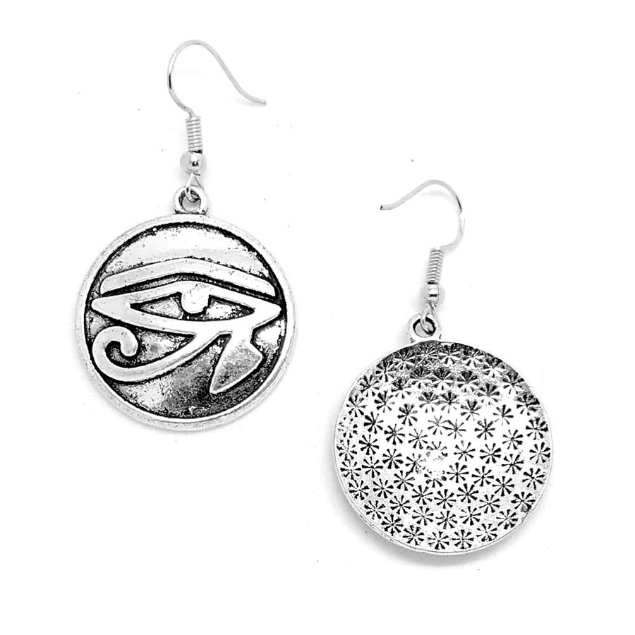 Antiqued Silver Eye Of Horus Egyptian Circle Drop Earrings