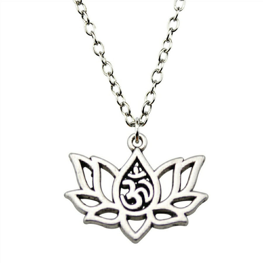 Silver Lotus Outline Pendant Necklace