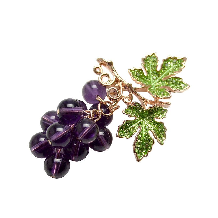 Bejeweled and Beaded Dangling Grapevine Pin