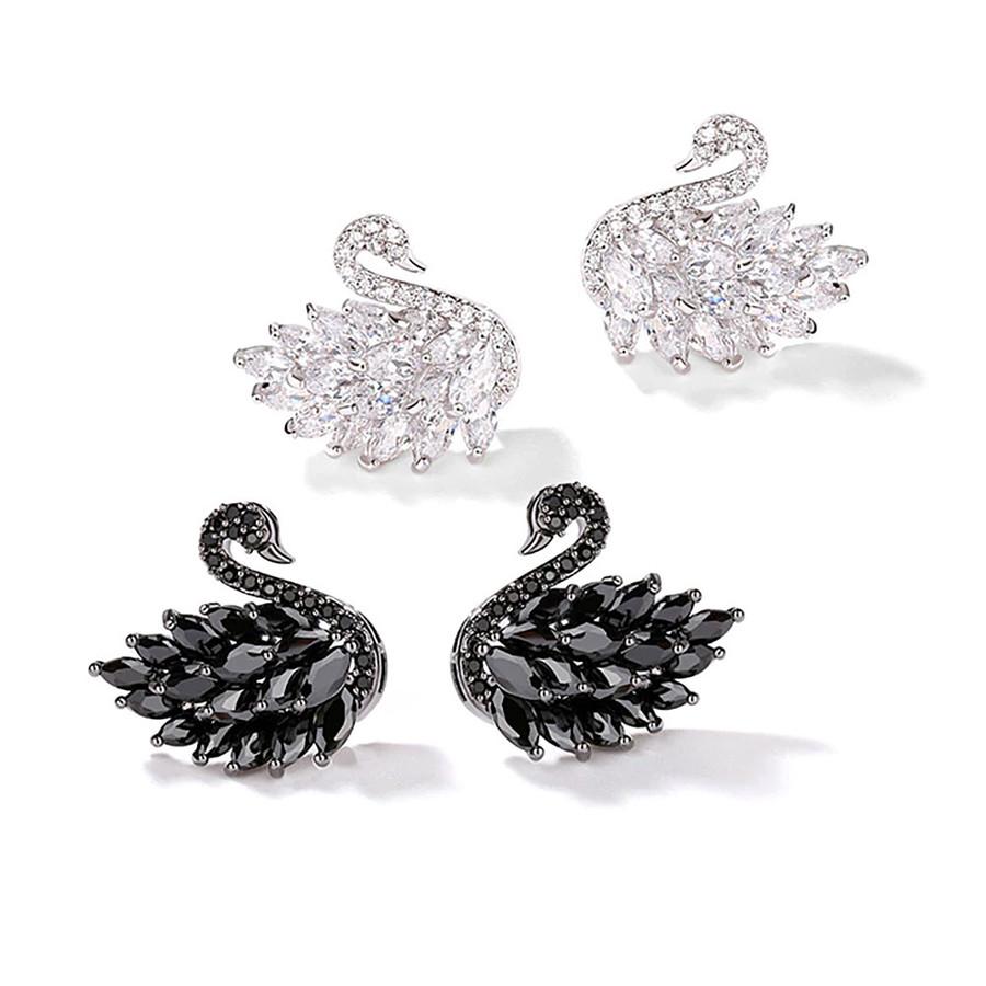 Bejeweled Silver Swan Post Earrings