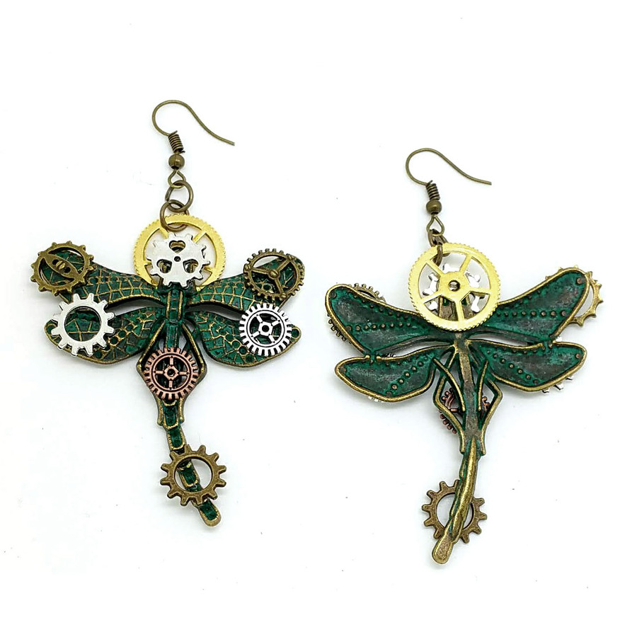 Patina Mix-Tone Steampunk Dragonfly Drop Earrings