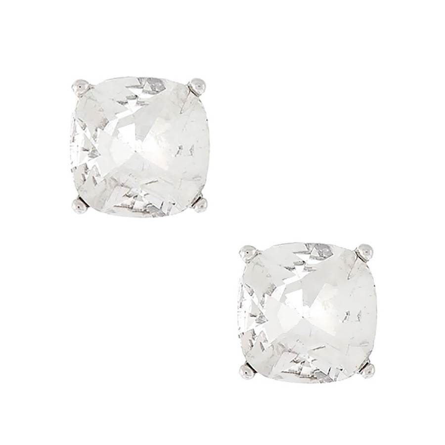 Silver and Clear Cushion-Cut Crystal Solitaire Post Earrings