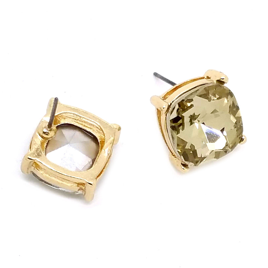 Golden Cushion-Cut Crystal Solitaire Post Earrings