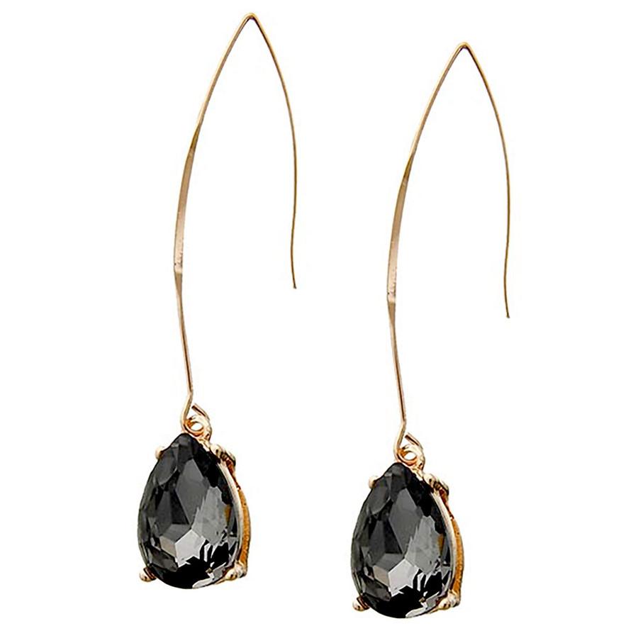 Gold and Smoky Teardrop Crystal Long Hook Drop Earrings
