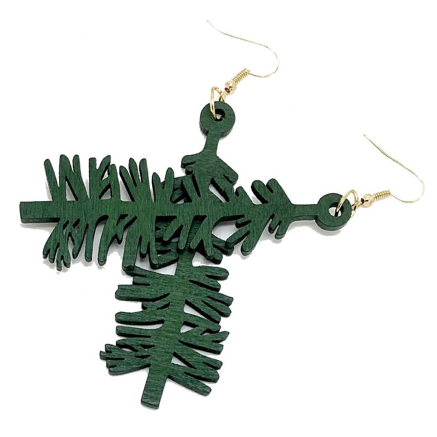 Large Lightweight Green Redwood Tree Drop Earrings