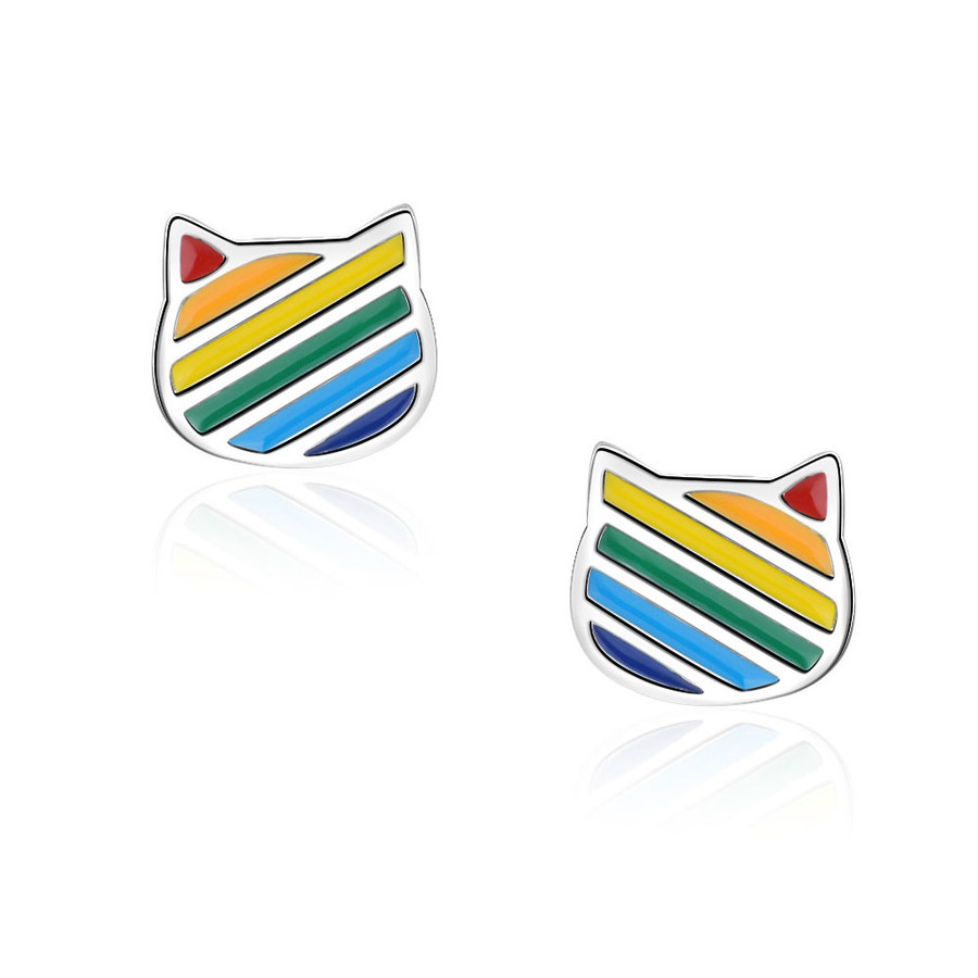 Mini Rainbow Stripe Enameled Kitty Post Earrings