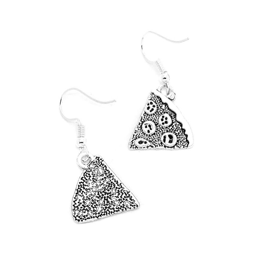 Antiqued Silver Pizza Slice Drop Earrings