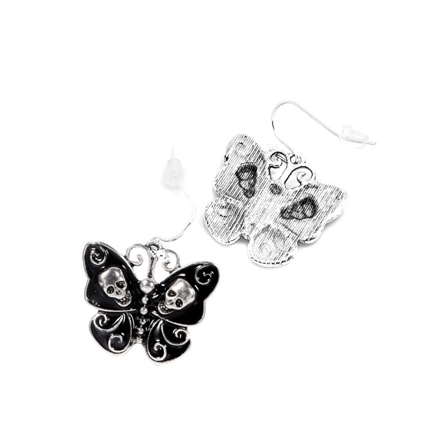 Black and Silver Skull and Swirl Butterfly Fishhook Drop Earrings