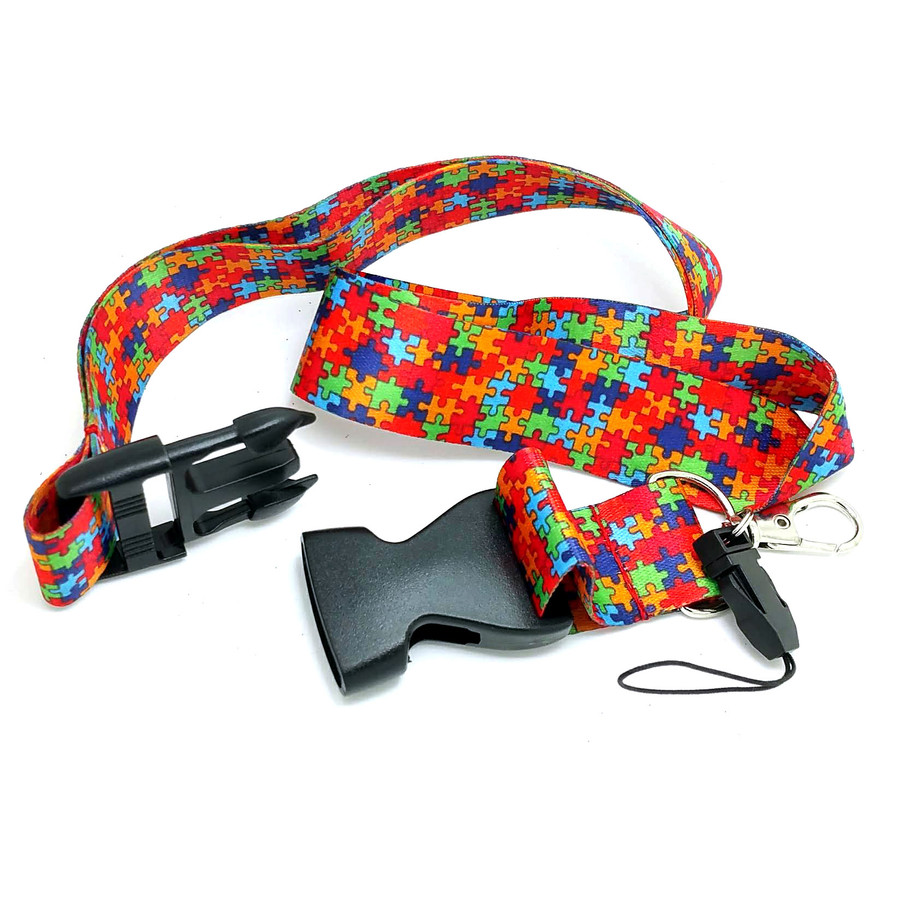 Autism Awareness (Jigsaw Puzzle) Fabric Lanyard with Quick Release (Plus Two Clear Pouch/ID/Badge/Card Holders