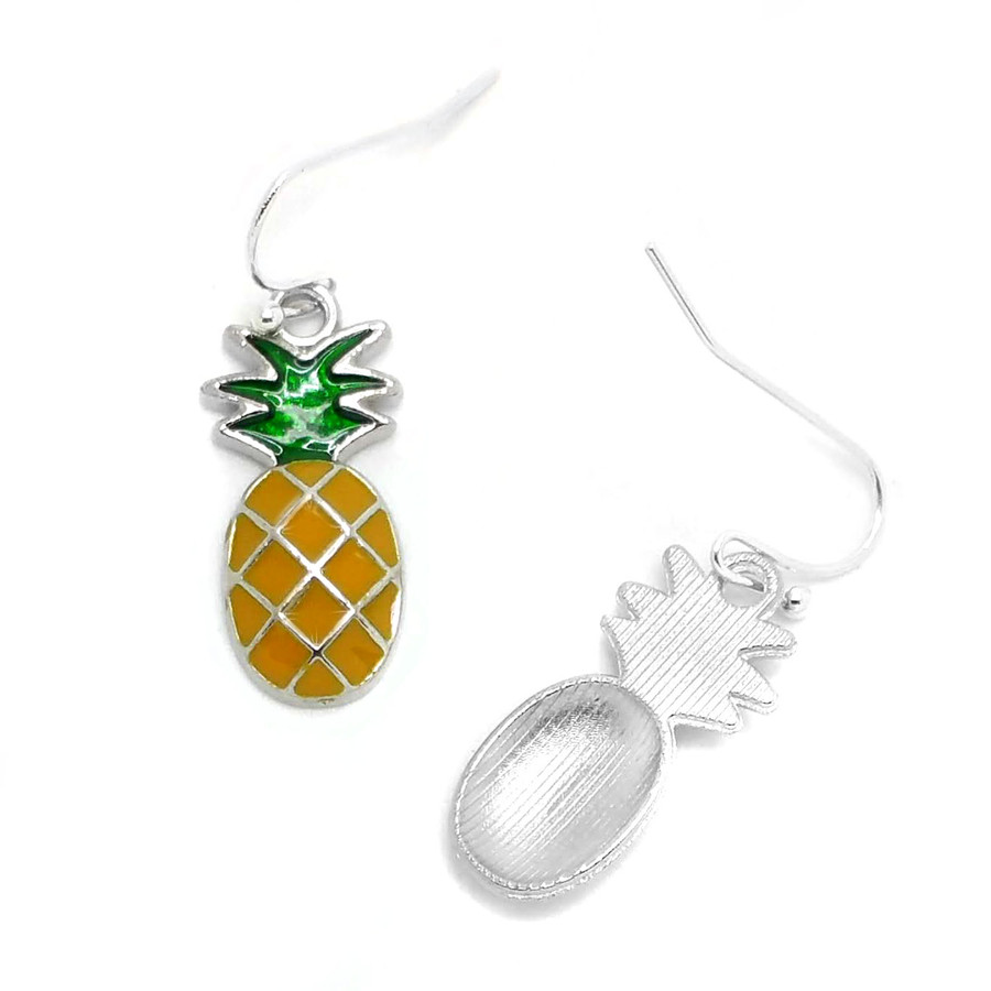 Silver Pineapple Drop Earrings with Gold and Green Enamel
