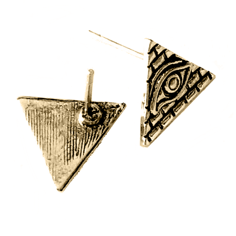 Antiqued Golden Egyptian Pyramid Post Earrings