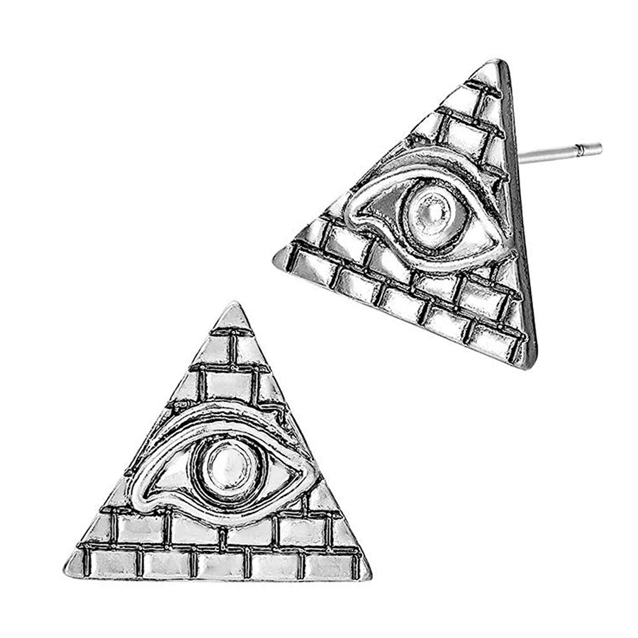 Antiqued Silver Egyptian Pyramid Post Earrings