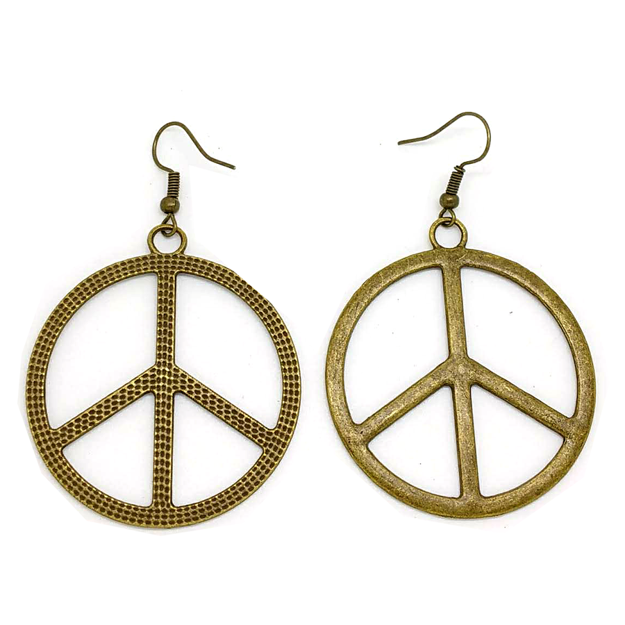 "Antiqued Golden Peace Sign Drop Earrings (1-3/4"")"