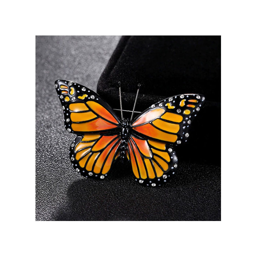 Gorgeous Bejeweled and Enameled Monarch Butterfly Pin