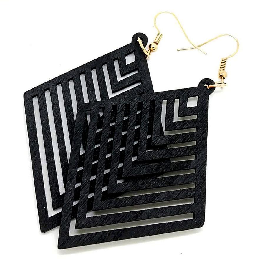 Lightweight Black Wood Geometric Rhombus Drop Earrings